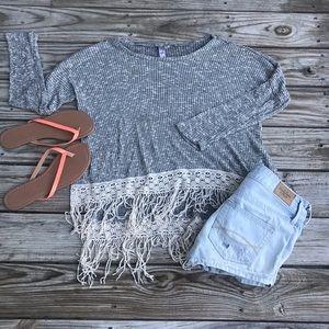 Long Sleeve Top w/ Lace Tasseled Trim
